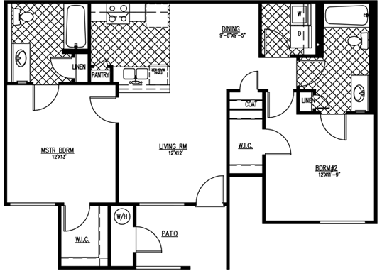 Floorplan for Parkway Townhomes Apartments